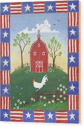 Rooster Americana Wood Print by Linda Mears