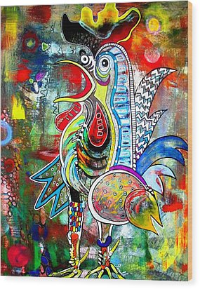 Rooster Wood Print by Amy Sorrell
