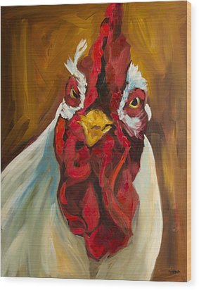 Rooster Face Wood Print