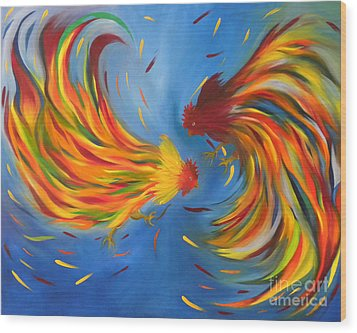Wood Print featuring the painting Rooster Fight by Fanny Diaz
