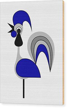 Rooster Gray Wood Print by Asbjorn Lonvig