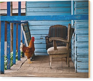 Rooster On Porch  Wood Print by Robert Watcher