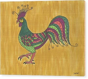 Wood Print featuring the painting Rooster Strut by Susie Weber