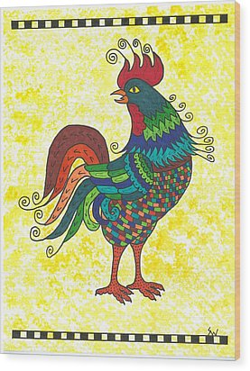 Wood Print featuring the painting Rooster Strutting His Stuff by Susie Weber