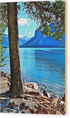 Rooted In Lake Minnewanka Wood Print by Linda Bianic