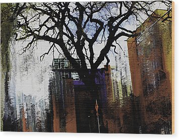 Wood Print featuring the mixed media Rooted In The Unstable by Terence Morrissey