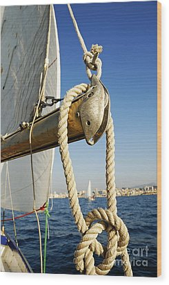 Rope On Sailboat Mast During Navigation Wood Print by Sami Sarkis