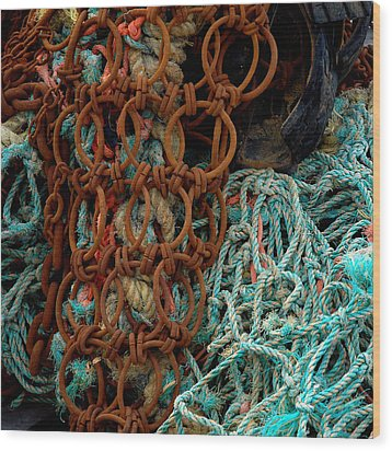 Ropes And Rusty Wires Wood Print by Dorin Adrian Berbier