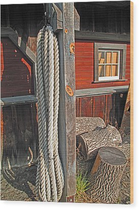 Ropes And Woods Wood Print by Barbara McDevitt