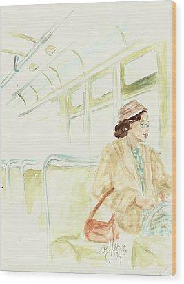 Rosa Parks Rides Wood Print