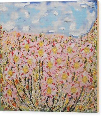 Rosa Ruby Flower Garden Wood Print