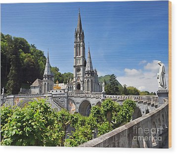 Rosary Basilica In Lourdes France Wood Print by Graham Taylor