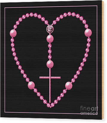 Rosary With Pink And Purple Beads Wood Print by Rose Santuci-Sofranko