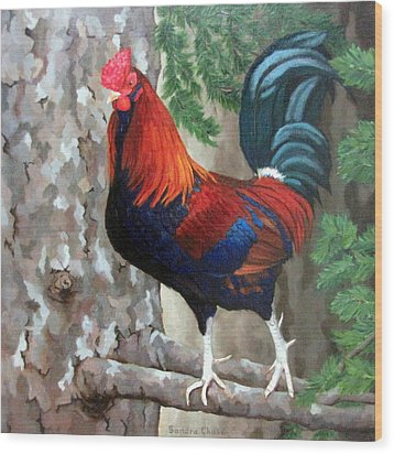 Wood Print featuring the painting Roscoe The Rooster by Sandra Chase