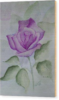 Rose 3 Wood Print by Nancy Edwards