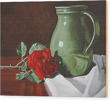 Rose And Green Jug Still Life Wood Print by Daniel Kansky