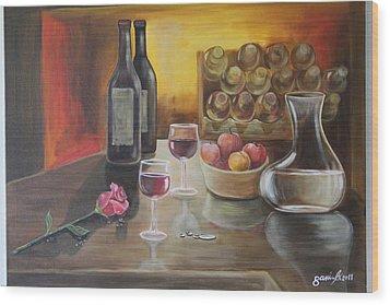 Rose And Wine Wood Print by Gani Banacia