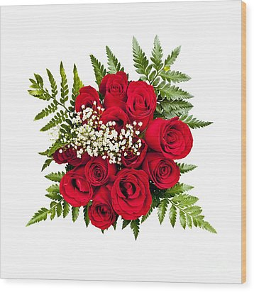 Rose Bouquet From Above Wood Print by Elena Elisseeva