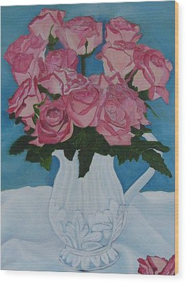 Wood Print featuring the photograph Rose Bouquet In A Pitcher by Margaret Newcomb
