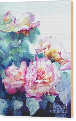 Wood Print featuring the painting Pink Rose Bush by Greta Corens