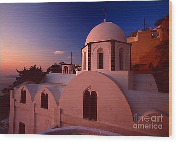 Rose Color Church Wood Print by Aiolos Greek Collections