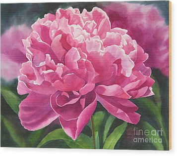Rose Colored Peony Blossom Wood Print by Sharon Freeman