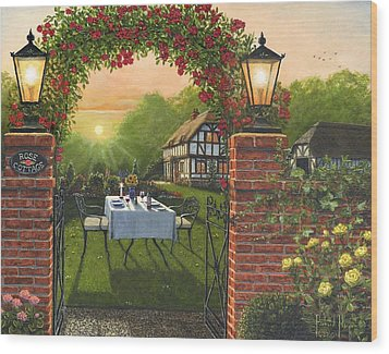 Rose Cottage - Dinner For Two Wood Print by Richard Harpum