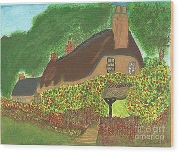 Wood Print featuring the painting Rose Cottage by Tracey Williams