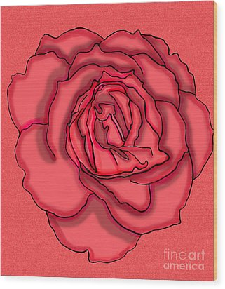 Rose Drawing Wood Print