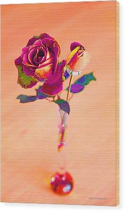 Rose For Love - Metaphysical Energy Art Print Wood Print by Alex Khomoutov