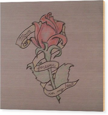 Wood Print featuring the drawing Rose For Mom by Thomasina Durkay
