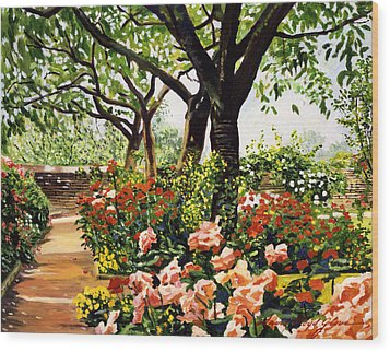 Rose Garden Impressions Wood Print by David Lloyd Glover