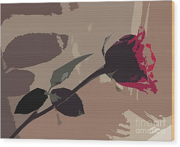 Rose In Abstract Digital Painting Wood Print by Minding My  Visions by Adri and Ray