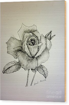 Rose In Monotone Wood Print