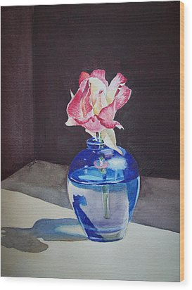 Rose In The Blue Vase II Wood Print by Irina Sztukowski