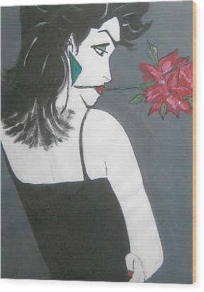 Wood Print featuring the painting Rose Lady by Nora Shepley