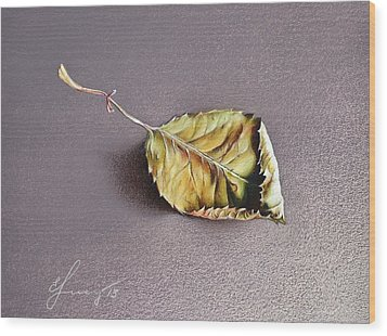 Rose Leaf Wood Print by Elena Kolotusha