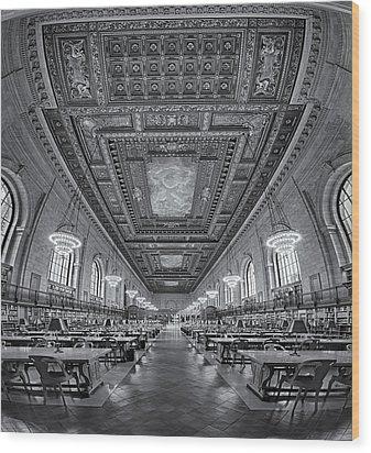 Rose Main Reading Room At The Nypl Bw Wood Print by Susan Candelario