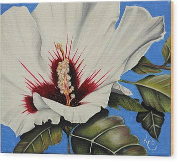 Rose Of Sharon Wood Print by Karen Beasley