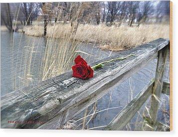 Wood Print featuring the photograph Rose On A Bridge by Verana Stark