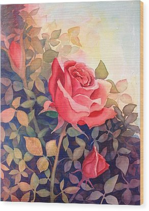 Rose On A Warm Day Wood Print by Marilyn Jacobson
