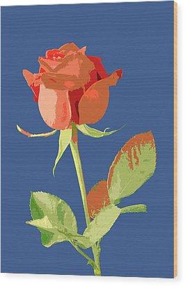 Rose On Blue Wood Print by Mauro Celotti