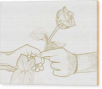 Rose Outline By Jan Marvin Studios Wood Print