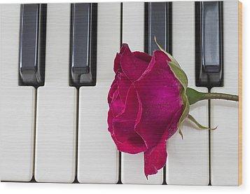 Rose Over Piano Keys Wood Print