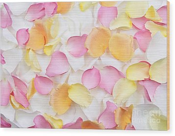 Rose Petals Background Wood Print by Elena Elisseeva