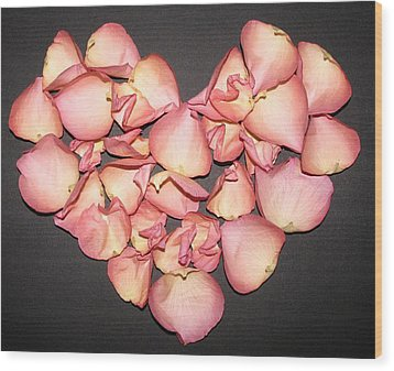 Rose Petals Heart Wood Print by Eva Csilla Horvath