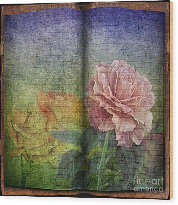 Wood Print featuring the digital art Rose Poem by Shirley Mangini