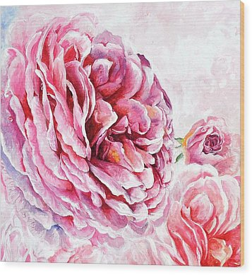 Wood Print featuring the painting Rose Reflection 2 by Sandra Phryce-Jones