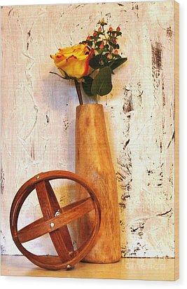 Rose Sphere And Mango Wood Vase Wood Print by Marsha Heiken