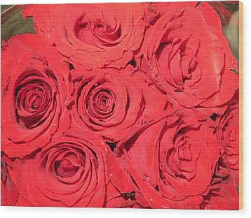 Rose Swirls Wood Print by Sonali Gangane